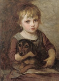 Young girl and her dachshund