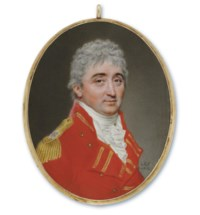 Lieutenant General Daniel Burr (1749-1828), when Colonel of the 10th Madras Native Infantry, in red uniform with red facings and gold square-ended lace in pairs, gold epaulette bearing two star rank-badges and the Honourable East India Company's coat-of-arms, white waistcoat, white frilled shirt, starched linen cravat, hair worn à l'antique