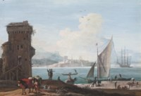 An extensive view of a port with sailors unloading cargo on a quay