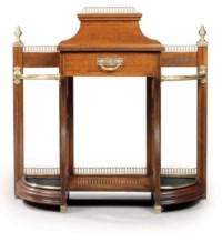 A LATE VICTORIAN BRASS-MOUNTED OAK HALL STAND