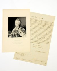 """CATHERINE II (1729-1796), Empress of Russia [""""Catherine the Great""""]. Letter signed ('Ekaterina') to [Freidrich Karl Joseph von Erthal], Archbishop and Prince-Elector of Mainz, 12 October 1793, in Russian, announcing the marriage of her son, the future Alexander I, to Louise of Baden, one page, folio, integral blank."""
