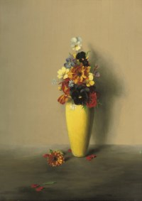 Pansies, geraniums and other flowers in a yellow vase
