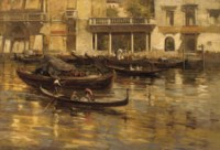 Gondoliers and elegant figures in front of the Hotel Milan, Venice