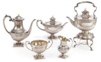 A SILVER FIVE-PIECE TEA AND COFFEE SET IN THE NEO-CLASSICAL STYLE