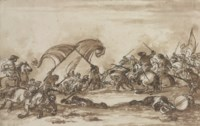 A battle scene with fallen soldiers crawling across the battlefield