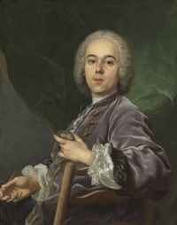 Portrait of Jacques Roëttiers, seated half-length, in a lavender coat, holding a medallion