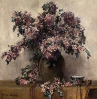 A still life with pink flowers