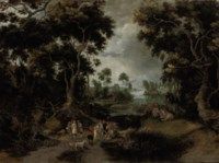 A wooded river landscape with figures conversing on a path, a village beyond