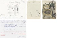 NABOKOV, Vladmir (1899-1977). A collection of approximately 53 autograph manuscript chess problems, n.d. [?1930s] - 30 April 1974, many signed ('Vladimir Nabokov', 'V. Nabokov', 'V.N.'), in English and Russian, the first 18 numbered as published in Poems and Problems, a further series numbered 19-28, the numbered problems noting the date and place of composition and subsequent publications, solutions usually noted on verso, sometimes with commentary ('A neat but rather pallid waiter'; 'A Christmassy self-interference freak'), with sometimes heavy emendations and cancellations, in pencil, coloured inks, coloured crayons, on 23 index cards and a variety of other sizes of paper, often scraps, 12mo - 4to, occasionally with an additional draft problem on verso, one bearing a watercolour drawing on the verso of chess pieces within a pavillion, the majority with hand-drawn grids, six envelopes; in an album, 4to. Provenance: by descent from Vladimir Nabokov.