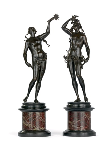 A PAIR OF BRONZE ALLEGORICAL F
