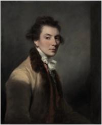 Portrait of Luke Gardiner, 1st Viscount Mountjoy (1745-1798), half-length, in a beige, fur-trimmed coat, white stock and striped red waistcoat