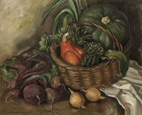 Still life with onions, beetroot and artichoke