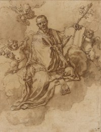 Saint Francis Xavier on clouds holding a lily and a book with putti, a townscape below