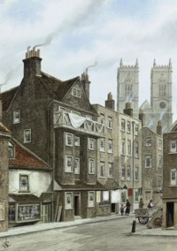 Caxton's House, with Westminster Abbey beyond (illustrated); Water gate, New Palace Yard, Westminster; and Three views of the Speaker's Courtyard, Westminster