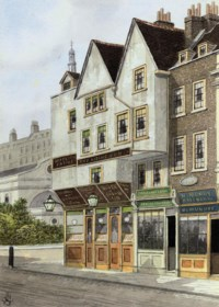 Seven views of shop fronts and street scenes including: Wytch Street, Strand (2) (one illustrated); The house of Dryden the poet, Fetter Lane; The Hand and Shears, Smithfield; Collingwood Street; No. 13 Anchor Street, Soho; and The Bird in Hand passage, Long Acre