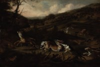 A stag hunt with hounds bringing down a stag in the foreground, huntsmen beyond