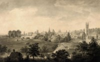 An extensive view of Oxford from Christchurch Meadows, showing from left to right: Christchurch College, the spire of St Mary's Church, the Radcliffe Camera, All Soul's College and Magdalen College and Bridge