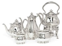 A SILVER FIVE-PIECE TEA AND COFFEE SERVICE