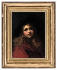 Portrait of a young girl, bust-length, in a red coat and black hat