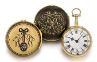 William Threlkeld. A fine, rare and unusual 18K gold quarter repeating pair case cylinder watch with additional gold and enamel outer case
