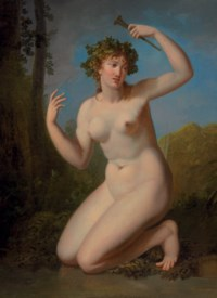 A bacchante in a wooded grove