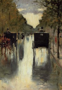 Berlin street scene with horse-drawn cabs