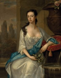 Portrait of Mary Parker, wife of Daniel Dering, seated three-quarters-length, by a fountain