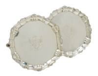 A PAIR OF SMALL GEORGE II SILVER WAITERS,