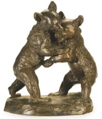 A FRENCH PATINATED BRONZE GROUP OF FIGHTING BEAR CUBS,