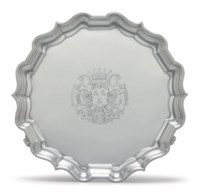 A FINE GEORGE II SILVER SALVER FROM THE WARRINGTON PLATE