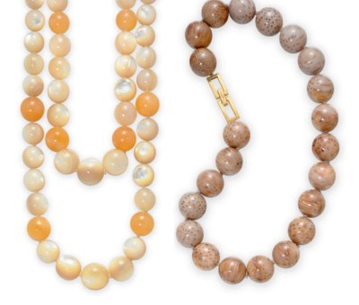 ~TWO MULTI-GEM BEAD NECKLACES,