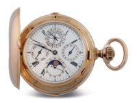BOREL & COURVOISIER. A RARE 18K PINK GOLD HUNTER CASE MINUTE REPEATING PERPETUAL CALENDAR CHRONOGRAPH KEYLESS LEVER POCKET WATCH