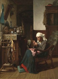 Old lady sewing