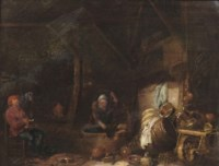 A kitchen interior with a woman stirring in a well and a man smoking a pipe