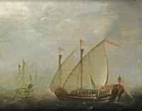 Two galleys in choppy waters