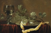 A partially peeled lemon on a silver platter, a knife, grapes and a 'roemer' of white wine on a draped table