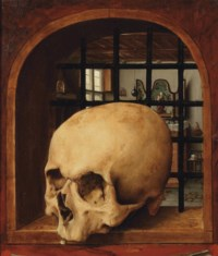 A Vanitas with a skull in a niche, an interior in the background