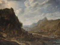 A Rhenish landscape with numerous vessels moored at a quay by a cooperage, a village on the hilltop