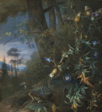 A forest floor still life with a frog and mushroom, mountains beyond