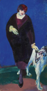 The artist's wife with Afghan hound (Babs and dog)