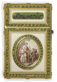 A LOUIS XVI JEWEL-SET ENAMELLED GOLD CARNET-DE-BAL