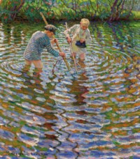 Young boys fishing for crayfish