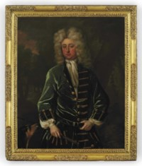 Portrait of Sir Charles Shuckburgh, 2nd Bt., Master of the Staghounds to Queen Anne, three-quarter-length, in a green coat with gold buttons, holding a riding crop with a dog in a wooded landscape