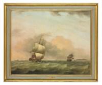Two British men-o'war heeling in the breeze offshore
