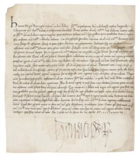 """HENRY VII (1457-1509), King of England and Lord of Ireland. Letter signed ('Henricus R') to 'the Archduchess of Austria and Burgundy' [Joanna of Castille, """"Juana la Loca""""], Sheen Palace, 8 April 1497, in Latin, 21 lines in a neat italic hand on one page, 297 x 260mm, integral address panel, endorsed 'R. Angl. 1497' (some staining, more marked to right margin, small loss to upper left corner); with a translation."""