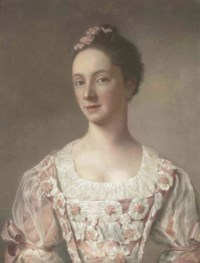 Portrait of a young lady, bust-length, in a pink dress decorated with rosettes