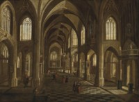 The interior of a cathedral with elegant figures, a procession beyond