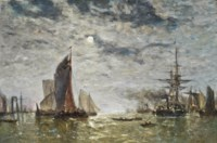 Vessels moored under the moon