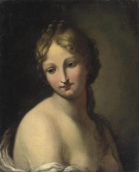 Study of a young girl en déshabillé in a white chemise