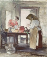 Preparations for lunch in a Jersey kitchen